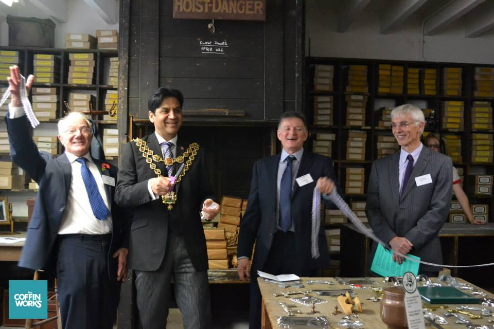 Officially opening the Coffin Works from left to right: Cllr Bob Beauchamp, the Lord Mayor 2014, Simon Buteux and Les Sparks Chair of the HLF Committee