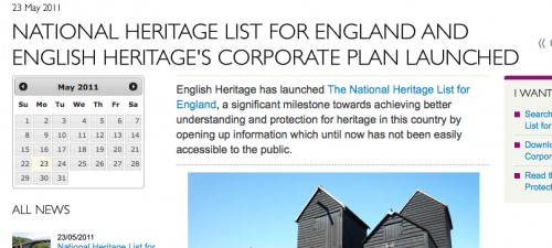 National Heritage List for England and English Heritage