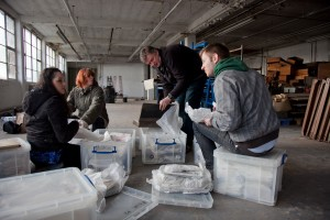 BCT Staff and volunteers sorting through Coffin Works archive boxes. Photo: Jane Baker
