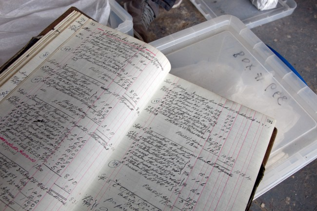 Bound ledger dating from WWII: Photo: Jane Baker