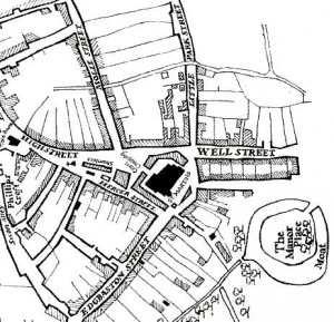 This map illustrates the early town that Peter founded. Notice the original triangular shape with four of Birmingham's earliest roads branching from it: High Street, Edgbaston Street, Molle Street, soon to become Moor Street and Park Street, also at one stage called Little Park Street. (Source: Birmingham: The Building of a City by Joseph McKenna, pg 17).