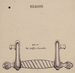 The original Newman Brothers' drawing registered with The Board of Trade in 1914. Note that the actual coffin handle does differ slightly from the design drawing.