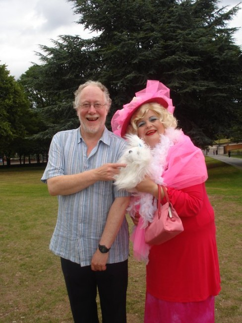 The Literary Bus strikes again. Chris with 'Barbara Cartland' and dog! © Anne-Marie Hayes