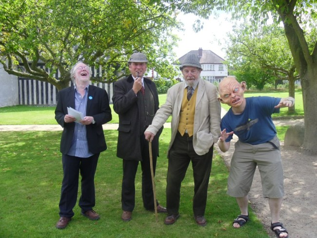 Chris with fellow Literary Bus characters at Blakesley Hall in 2011.